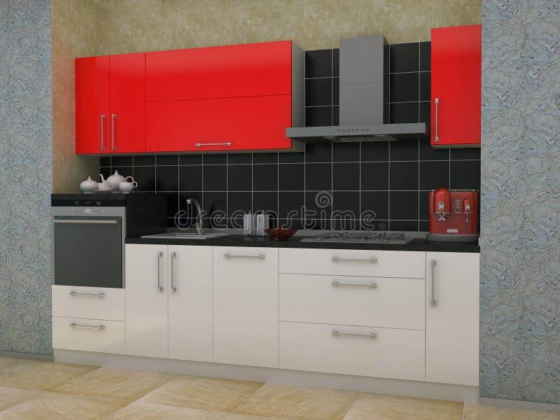 ejemplo 3D de la cocina con acentos rojos ilustración del vector