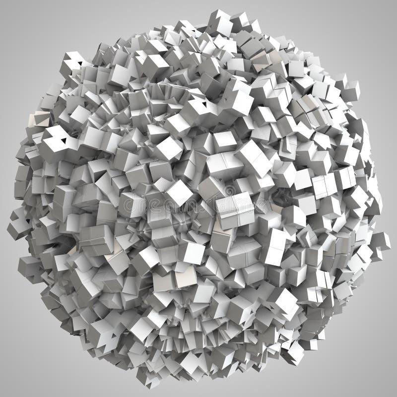 ejemplo 3D de la esfera abstracta de las cajas de los cubos stock de ilustración