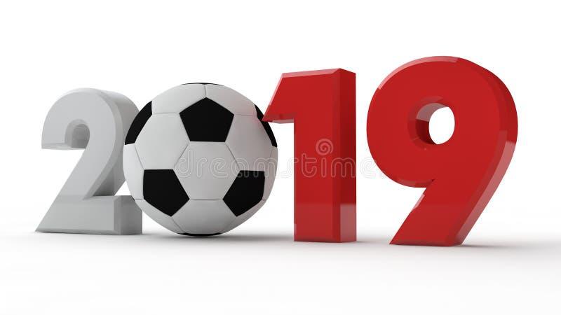 ejemplo 3D 2019 de la fecha, balón de fútbol, era del fútbol, año de deporte representación 3d La idea para el calendario stock de ilustración