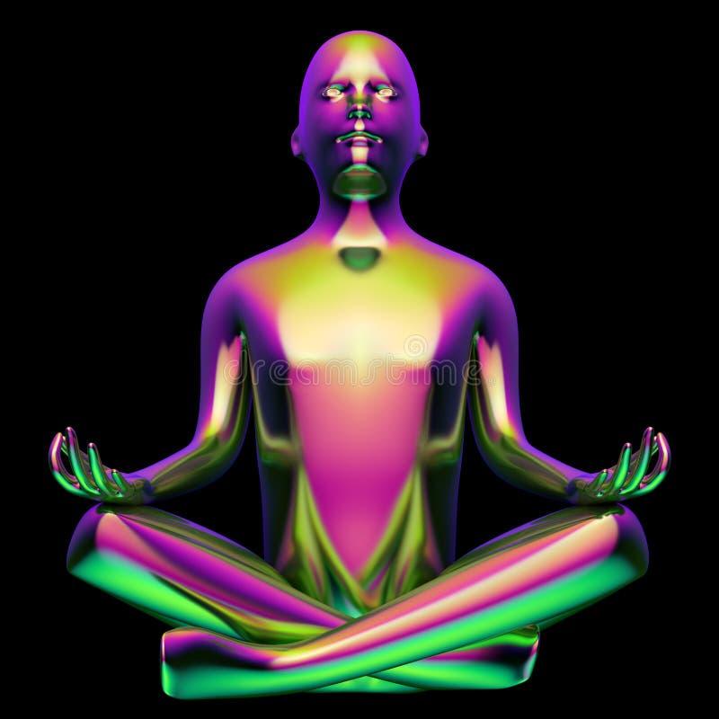 ejemplo 3d de la figura estilizada púrpura violeta verde de la actitud del loto del hombre libre illustration