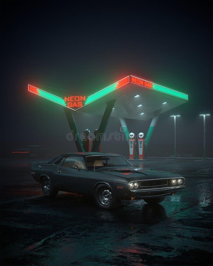 ejemplo 3D de la gasolinera retra del coche y stock de ilustración