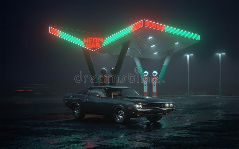 ejemplo 3D de la gasolinera retra del coche y ilustración del vector