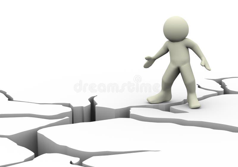 grieta del hombre 3d y de la tierra libre illustration