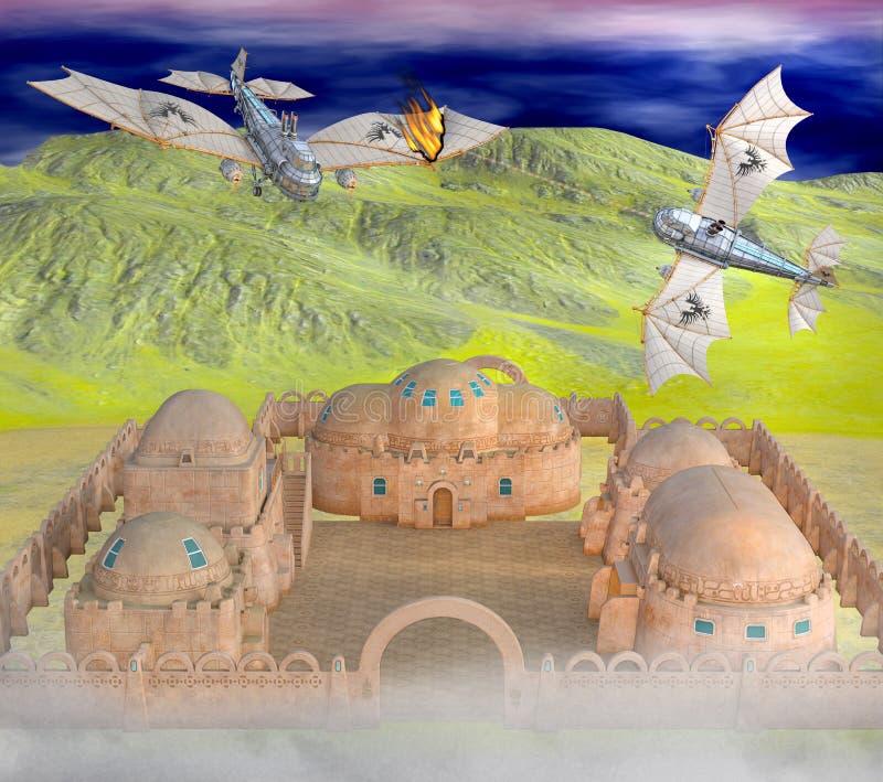 ejemplo 3D de la guerra aérea del steampunk stock de ilustración