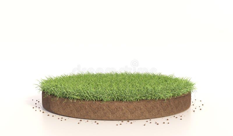 ejemplo 3D de la hierba verde redonda, tierra del suelo, césped Representaci?n realista 3d fotos de archivo
