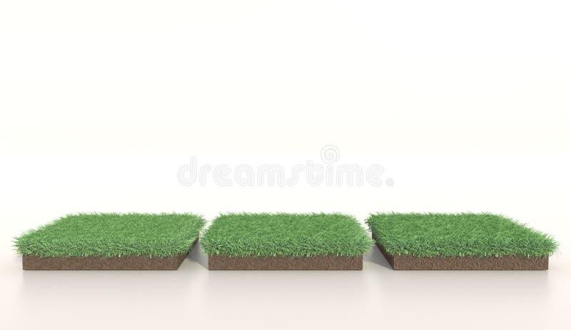 ejemplo 3D de la hierba verde de tres cuadrados, tierra del suelo, césped Cuadrado de la hierba Representaci?n realista 3d fotos de archivo