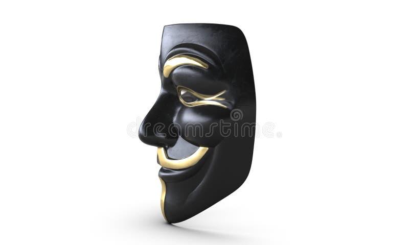 ejemplo 3D de la máscara de la venganza de Guy Fawkes aislada en blanco stock de ilustración