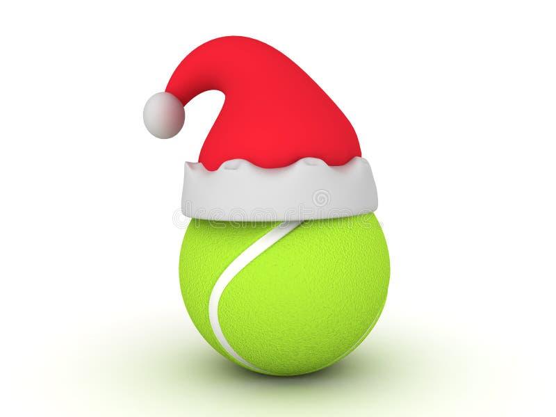 ejemplo 3D de la pelota de tenis con el sombrero de la Navidad encima de él libre illustration