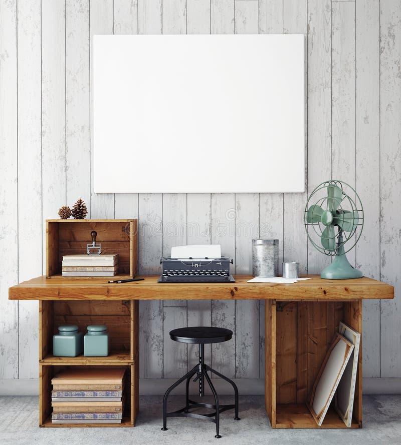 ejemplo 3D de la plantilla del marco del cartel, mofa del espacio de trabajo para arriba, libre illustration