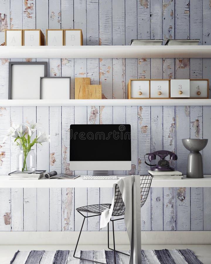 ejemplo 3D de la plantilla moderna del ordenador, mofa del espacio de trabajo para arriba, fotografía de archivo libre de regalías