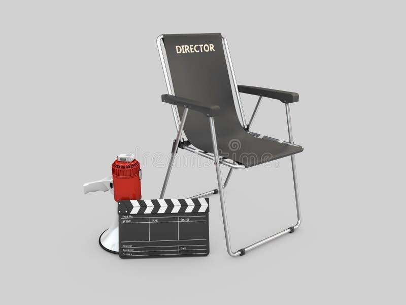 ejemplo 3d de la silla del director de película con clapperboard y el megáfono stock de ilustración