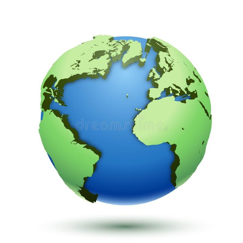 ejemplo 3D de la tierra del globo aislada en el fondo blanco Planeta del icono ilustración del vector