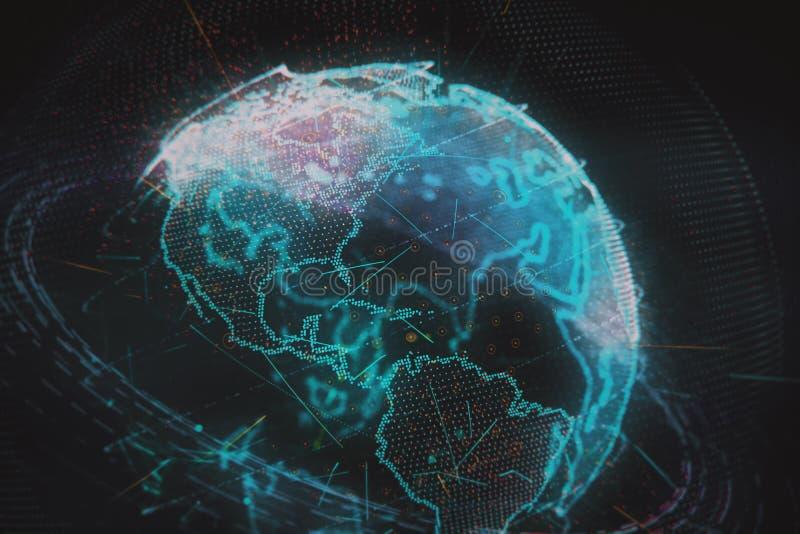 ejemplo 3d de la tierra virtual detallada del planeta ilustración del vector