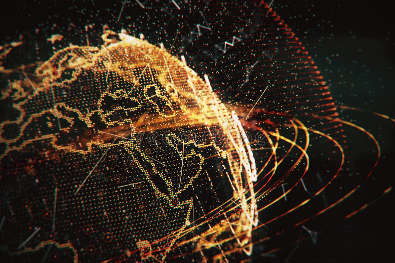 ejemplo 3d de la tierra virtual detallada del planeta stock de ilustración