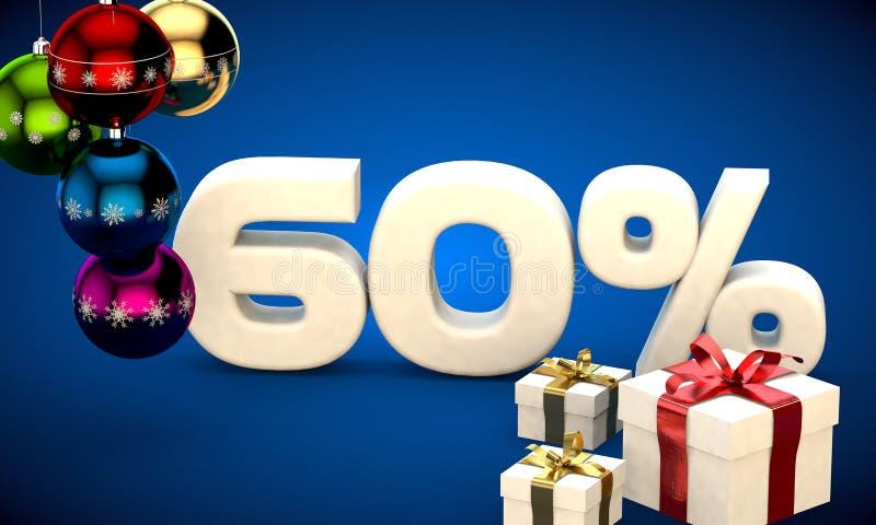 ejemplo 3d de la venta de la Navidad descuento del 60 por ciento libre illustration