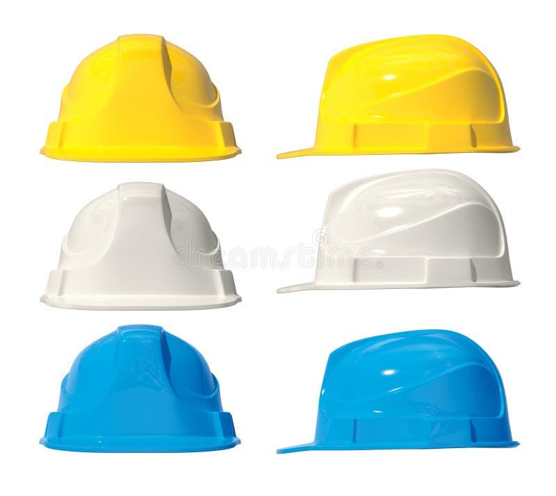 ejemplo 3d de los cascos del edificio Aislado conjunto Amarillo, azul, wghite ilustración del vector