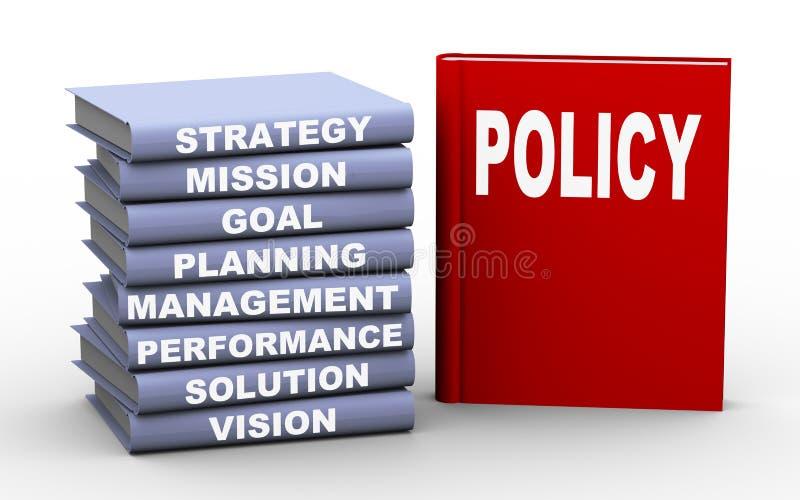 libros del concepto de la política 3d stock de ilustración