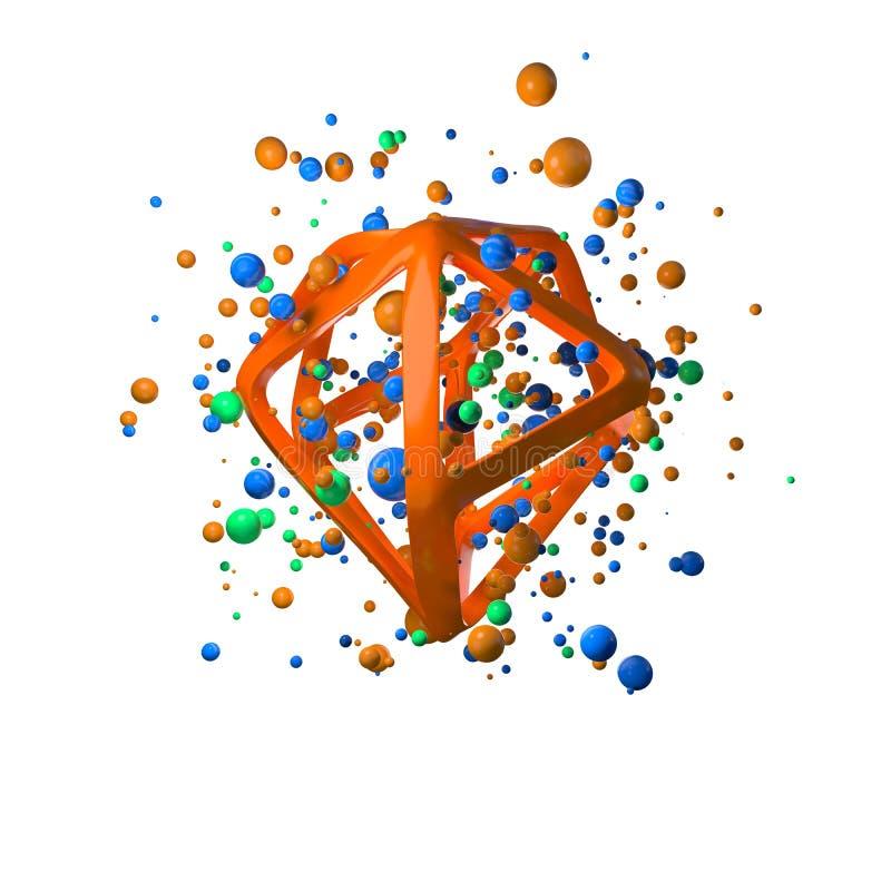ejemplo 3d de los primitivos realistas del vuelo Formas esféricas en el movimiento aislado en el oround blanco del fondo poligona ilustración del vector