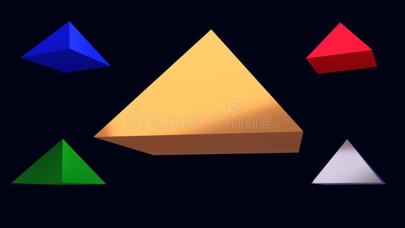 ejemplo 3d de pirámides brillantes de cernido stock de ilustración
