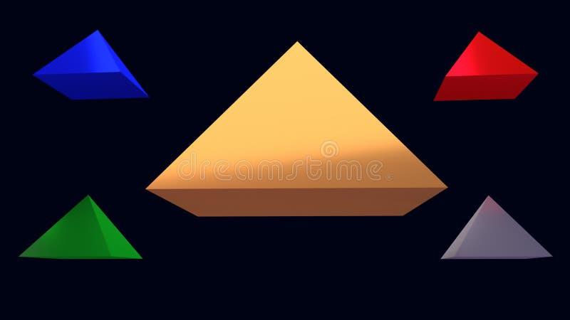 ejemplo 3d de pirámides brillantes de cernido ilustración del vector