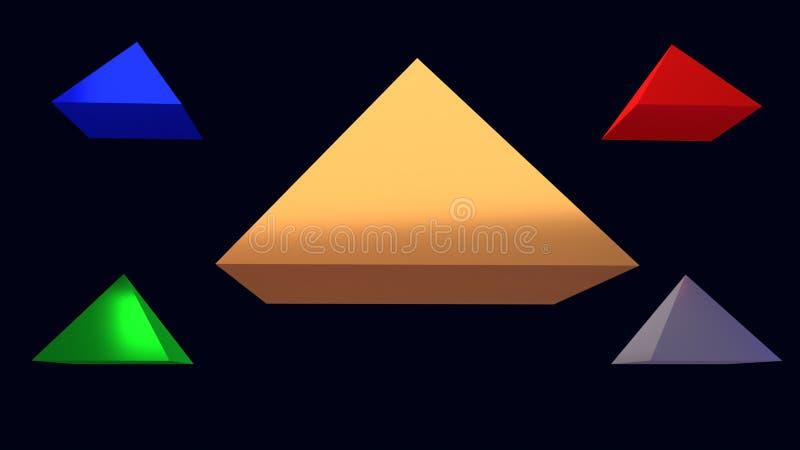 ejemplo 3d de pirámides brillantes de cernido libre illustration