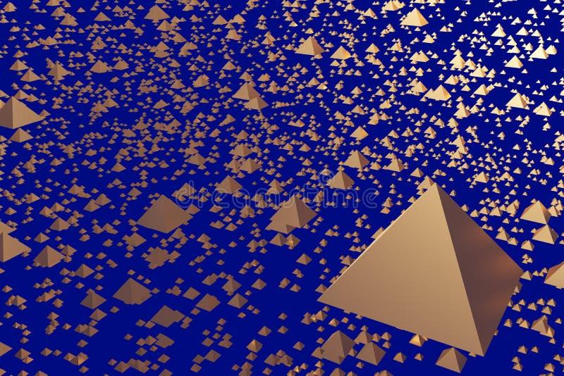 ejemplo 3d de pirámides de cernido de oro stock de ilustración