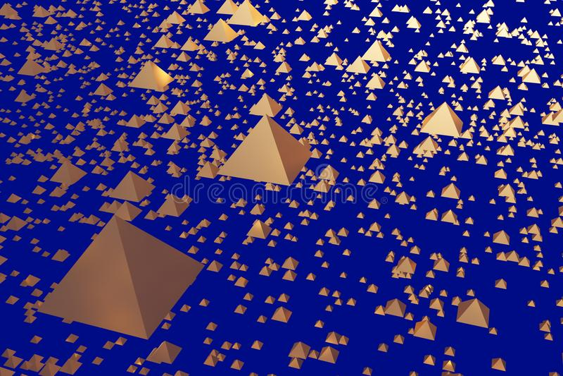 ejemplo 3d de pirámides de cernido de oro libre illustration