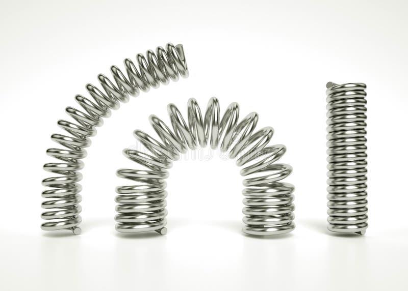 ejemplo 3d de primaveras cilíndricas de plata flexibles Fije de los resortes de presión realistas del metal ilustración del vector