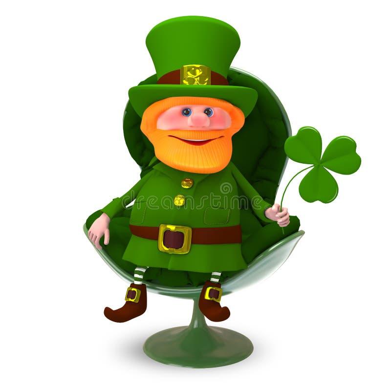 ejemplo 3D de St Patrick con el trébol en la butaca stock de ilustración