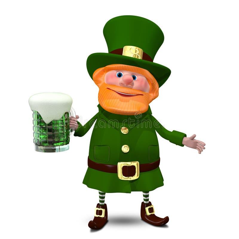 ejemplo 3D de St Patrick con la cerveza ilustración del vector