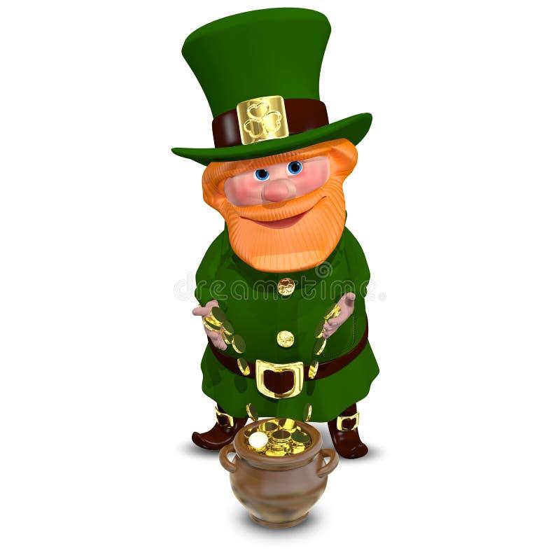 ejemplo 3D de St Patrick con las monedas de oro ilustración del vector