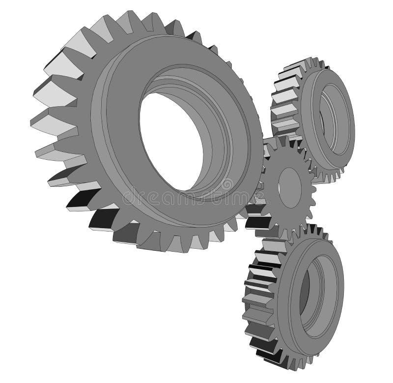 ejemplo 3d de tres engranajes del metal stock de ilustración
