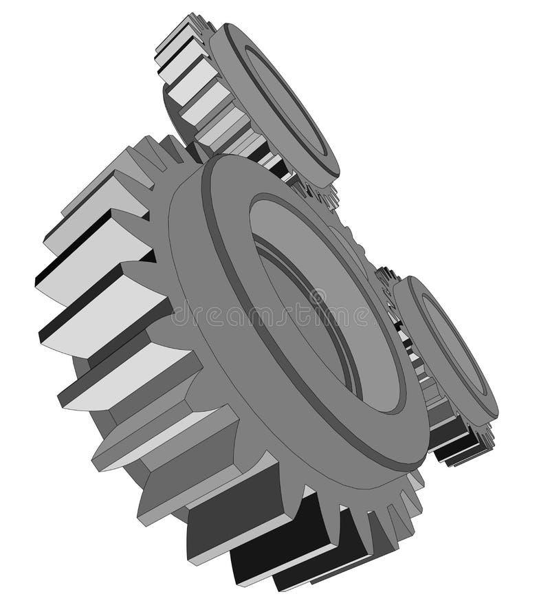 ejemplo 3d de tres engranajes del metal ilustración del vector