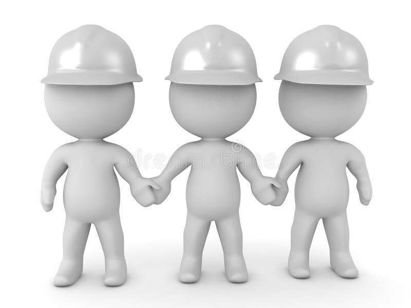ejemplo 3D de tres salvavidas blancos de los cascos que llevan a cabo la ha stock de ilustración