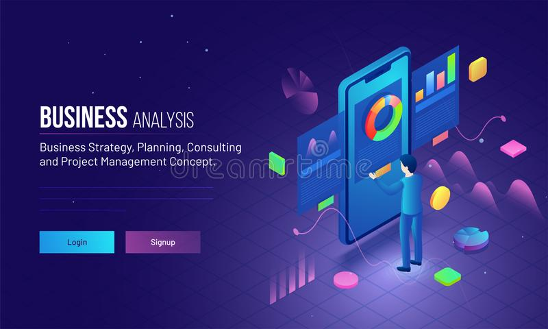 ejemplo 3D de un análisis del hombre de negocios su crecimiento de la compañía para stock de ilustración