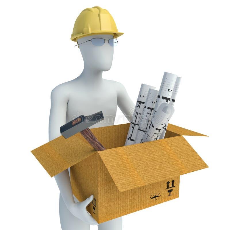 ejemplo 3D de un arquitecto Carrying Caja por completo de planes 3d stock de ilustración