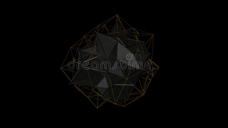ejemplo 3D de un cristal del metal de la forma irregular, figura abstracta poligonal baja, en un fondo negro Diseño futurista 3d fotografía de archivo