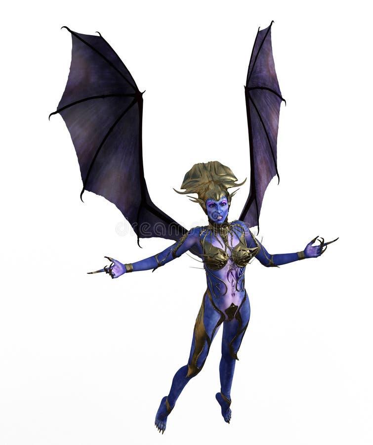 ejemplo 3D de un diablo femenino con las alas y la piel azul ilustración del vector