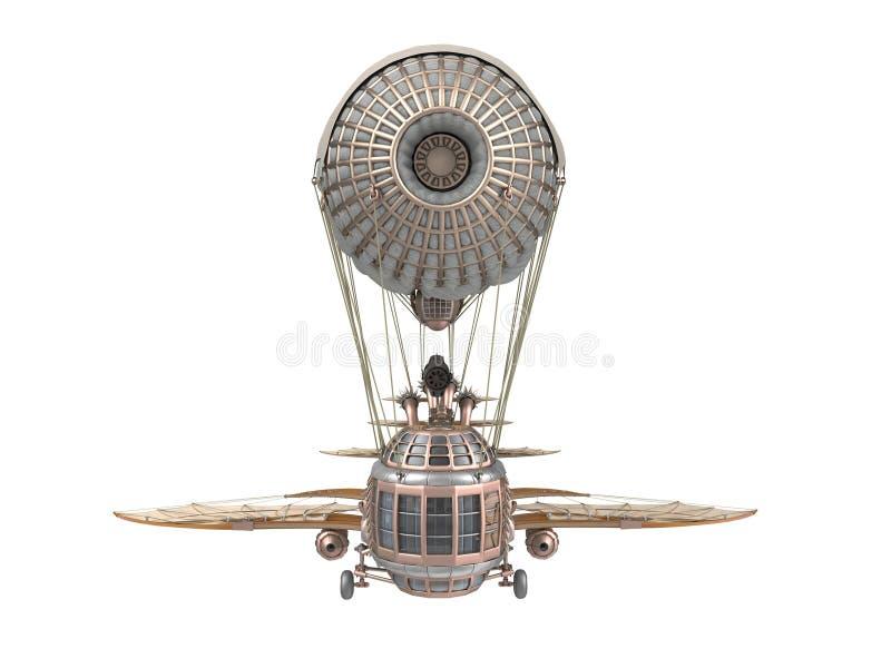 ejemplo 3d de un dirigible de la fantasía en estilo del steampunk en fondo blanco aislado stock de ilustración
