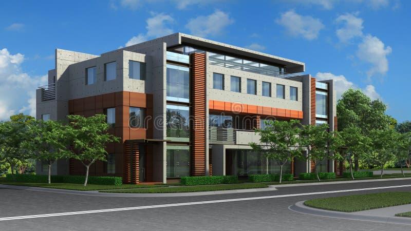 ejemplo 3D de un edificio residencial de lujo ilustración del vector