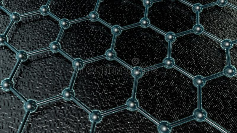 ejemplo 3D de un enrejado cristalino que brilla intensamente del graphene, molécula del carbono, superconductor, material del fut libre illustration
