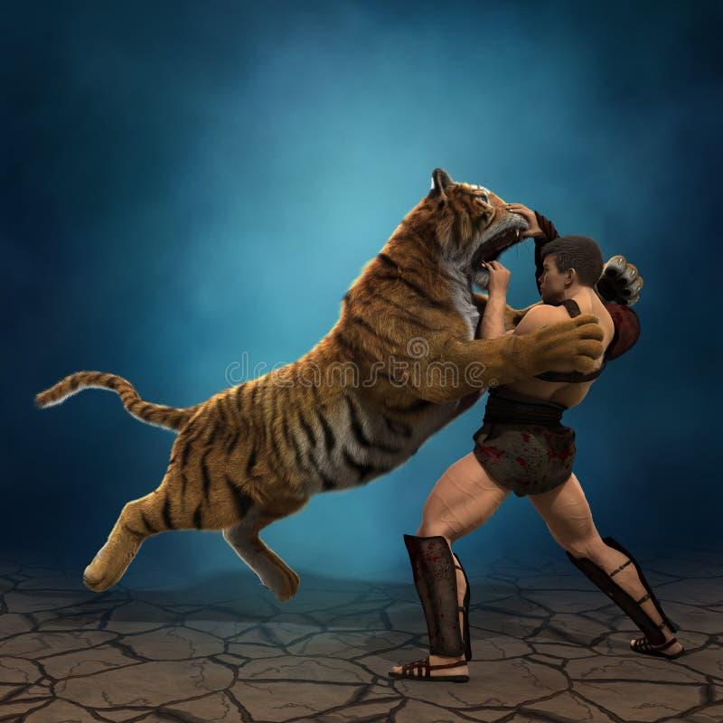 ejemplo 3D de un gladiador que lucha con un tigre libre illustration