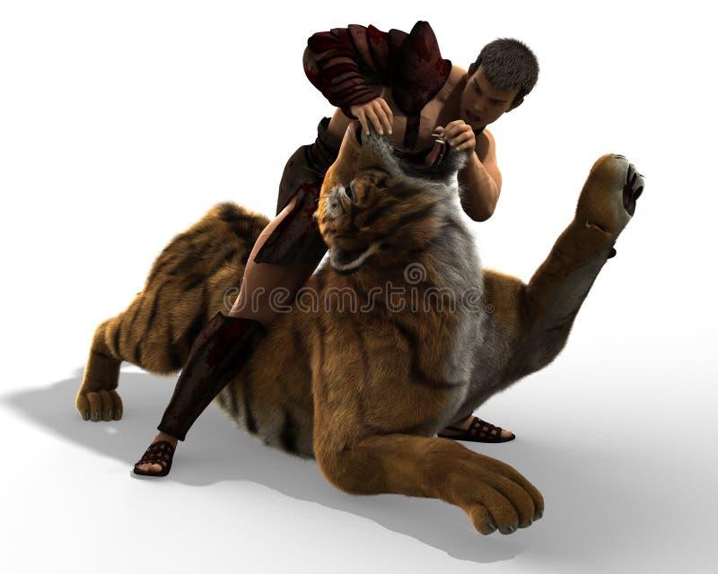 ejemplo 3D de un gladiador que lucha con un tigre aislado en el fondo blanco ilustración del vector