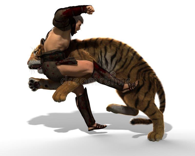 ejemplo 3D de un gladiador que lucha con un tigre aislado en el fondo blanco libre illustration