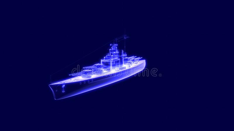 ejemplo 3d de un holograma del acorazado stock de ilustración