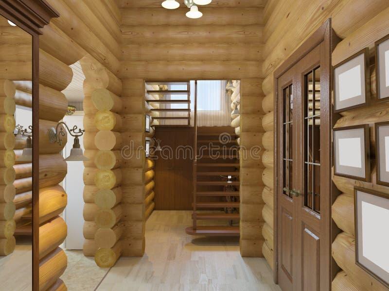 ejemplo 3D de un pasillo en la casa de una tala ilustración del vector
