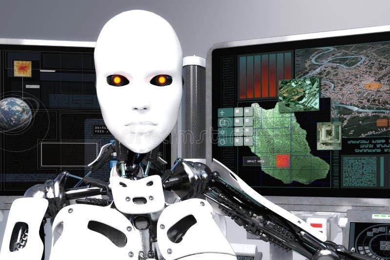 ejemplo 3D de un robot femenino ilustración del vector