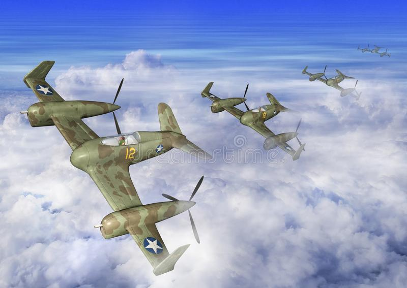 ejemplo 3D de un vuelo futurista de la escuadrilla del aeroplano en las nubes stock de ilustración