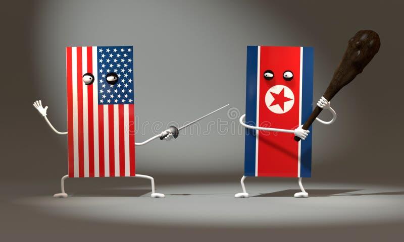 ejemplo 3d de una bandera de los E.E.U.U. con una espada que lucha la bandera de Corea del Norte con un club primitivo libre illustration