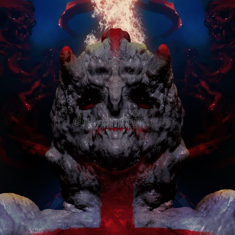 ejemplo 3D de una cabeza del monstruo con el fondo carmesí stock de ilustración